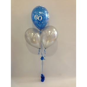 Age 60 Sapphire Blue and Silver 3 Latex Pyramid Bouquet