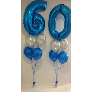 Large Blue 60 Number Balloon Burst