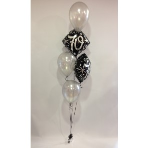Age 70 Black and Silver 2 Foil and 3 Latex Bouquet