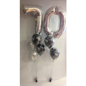 Age 70 Black and Silver Balloon Burst