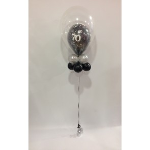 Age 70 Black Double Bubble Balloon with Double Collar