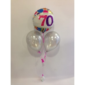 Age 70 Multicoloured Foil and Silver Balloon Bunch