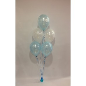 Age 70 Pale Blue and White 5 Latex Bouquet