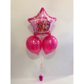 Age 70 Pink Glitz Balloon Bunch