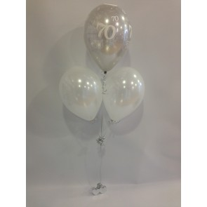 Age 70 Silver and White 3 Latex Pyramid Balloon Bouquet