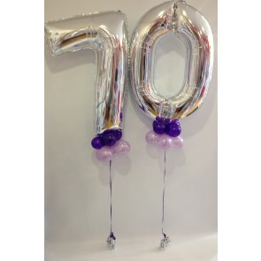 Age 70 Silver Numbers with Purple & Lilac Collars