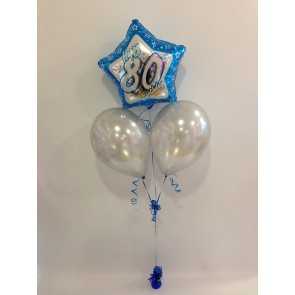 Age 80 Blue and Silver Balloon Bunch