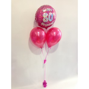 Age 80 Hot Pink Balloon Bunch