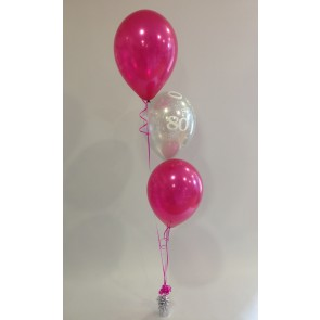 Age 80 Hot Pink and Silver 3 Latex Staggered Balloon Bouquet