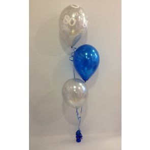 Age 80 Silver, Sapphire Blue and Silver 3 Latex Staggered Bouquet