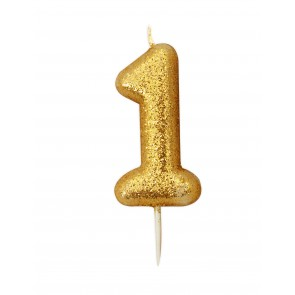 Number 1 Gold Glitter Candle