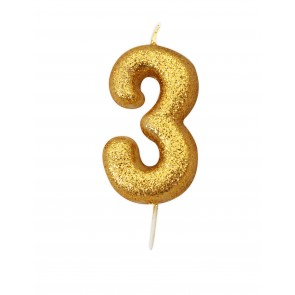 Number 3 Gold Glitter Candle