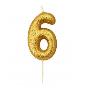 Number 6 Gold Glitter Candle