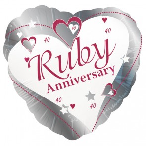 Ruby Wedding Anniversary Foil Balloon