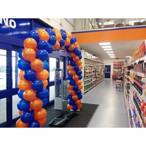 Sapphire Blue and Orange Spiral Balloon Arch