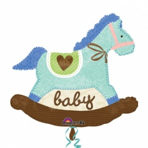 Baby Blue Rocking Horse SuperShape Foil Balloon