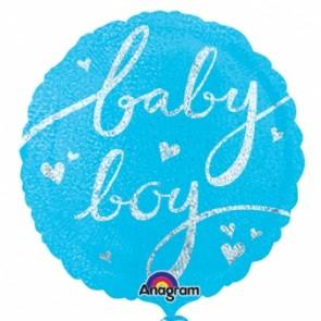 Baby Boy Script Foil Balloon