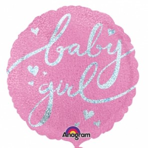 Baby Girl Script Foil Balloon