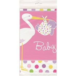 Baby Girl Stork Plastic Tablecover