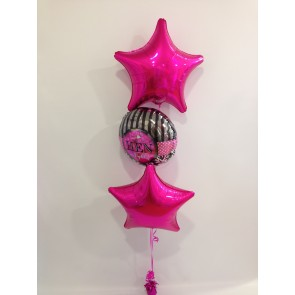 Hot Pink Star Hen Night 3 Foil Bouquet