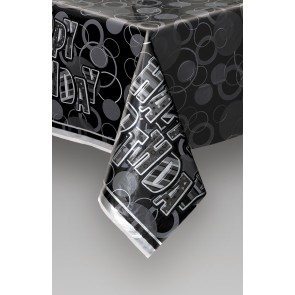 Black and Silver Glitz Plastic Tablecover