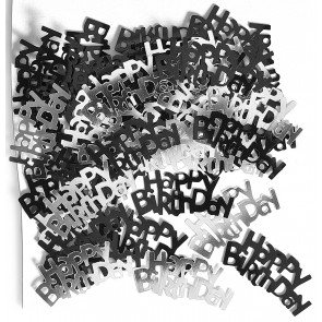 Black and Silver Glitz Happy Birthday Confetti