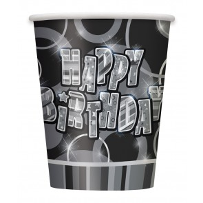 Black and Silver Glitz Paper Cups