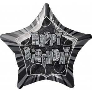 Black Glitz Happy Birthday Foil Balloon