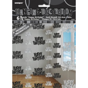 Black and Silver Glitz Happy Birthday Hanging Decorations