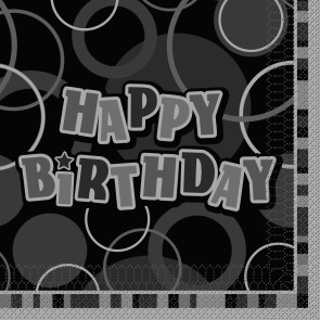 Black and SIlver Glitz Happy Birthday Paper Napkins