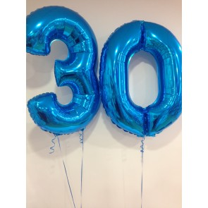 Large Blue Number 30 Balloons