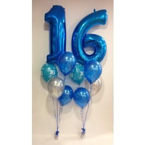 Age 16 Blue Balloon Burst
