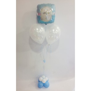 Blessings blue cross foil balloon arrangement