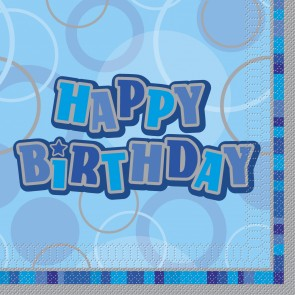 Blue Glitz Happy Birthday Paper Napkins