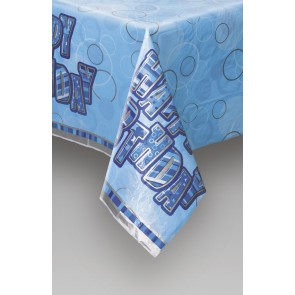 Blue Glitz Plastic Tablecover