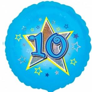 Age 10 Blue Star Foil Balloon