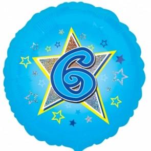 Age 6 Blue Star Foil Balloon