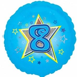 Age 8 Blue Star Foil Balloon