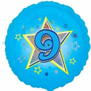 Age 9 Blue Star Foil Balloon