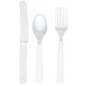 White Plastic Cutlery