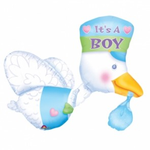 Bundle of Joy - It's A Boy Stork Supershape Foil Balloon