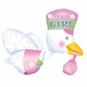 Bundle of Joy - It's A Girl Stork Supershape Foil Balloon