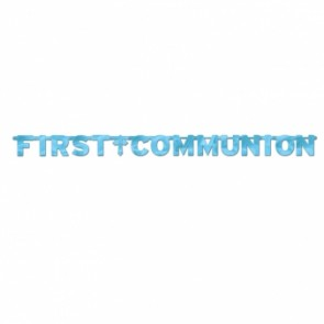 First Communion Blue Foil Letter Banner