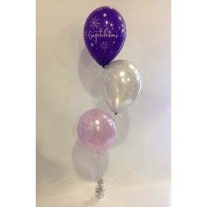 Congratulations Purple, Silver and Lilac 3 Latex Staggered Bouquet
