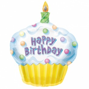 Cupcake Happy Birthday SuperShape Foil Balloon