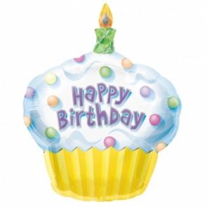 Cupcake Happy Birthday SuperShape Foil Balloon
