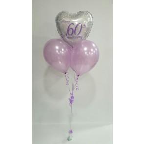 Diamond Anniversary Lilac Balloon Bunch
