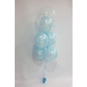 Blue First Holy Communion Double Bubble Arrangement