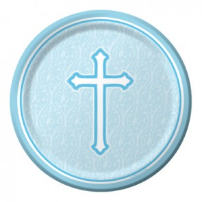 Blue Faith Paper Plates