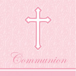 Pink Faith First Holy Communion Napkins